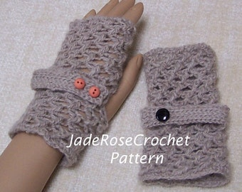 Crochet Fingerless Gloves Pattern, Open Weave Fingerless Gloves Pattern, Hugs and Kisses, XO Design, PDF105