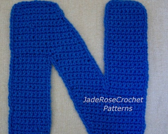 Crochet Letter Patterns N Alphabet Appliques 3D Accent Pillows in 5 Sizes