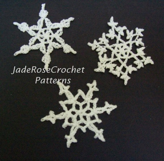 Free Crochet Pattern Snowflakes Ornament : Items similar to Crochet Snowflakes Pattern Three ...