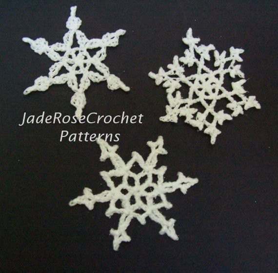Crochet Snowflakes Pattern Three Snowflake by JadeRoseCrochet