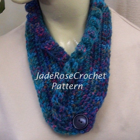 Crochet Scarf Pattern Scallop Twist Scarflette Neck Warmer Two Styles  Twist Crochet Scarf