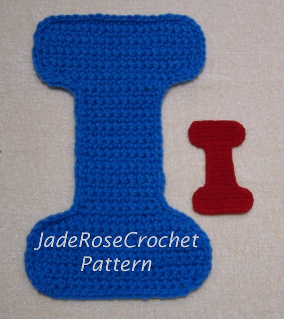 Crochet Letters Patterns Capital I Alphabet by JadeRoseCrochet