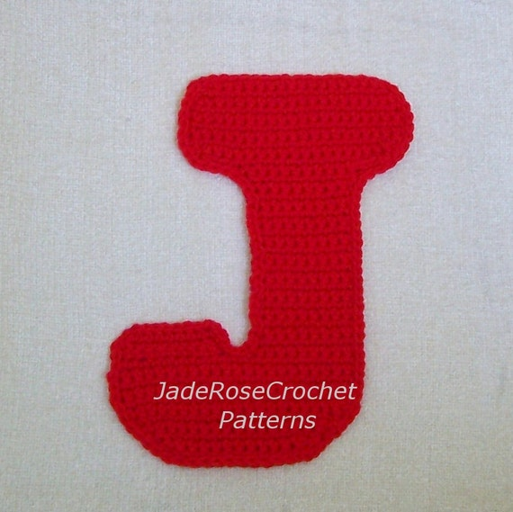 Crochet Patterns J Hook : Crochet Letters Patterns J by JadeRoseCrochet on Etsy