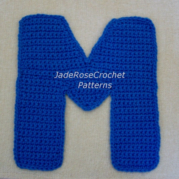 Free Crochet Letter Pillow Pattern : Crochet Letter Patterns M Appliques and 3D Accent Pillows in 5