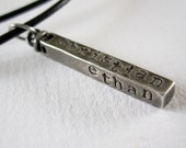 Personalized Dad - Rustic Swivel Bar - Unisex Mens or Womens - Sterling Silver - Hand Stamped Names Words Dates - Leather Cord