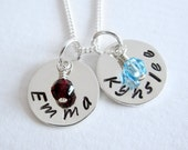 Personalized Mom Necklace - TWO Names - Sterling Silver Hand Stamped - Birthstone - Patricia Ann Jewelry Designs