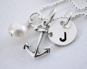 Nautical Wedding - Bridesmaid Necklace - Gift set of 4 Necklaces - Sterling Silver - Personalized Wedding