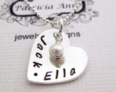 Personalized Jewelry - Sterling Silver Heart - Mom or Sweetheart - Hand Stamped