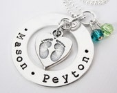 Personalized Mother's Necklace - Baby Feet Heart Charm - Sterling Silver Washer - Hand Stamped - Patricia Ann Jewelry Designs