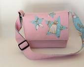 Kids or Toddler Messenger Bag - Pink with Blue Star Applique