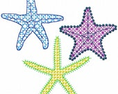 Filigree Starfish Set of 3 Embroidery Designs for machine embroidery