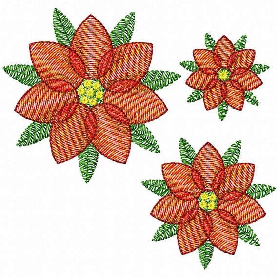 Filigree Poinsettia Set - set of all 3 sizes - Embroidery Design for machine embroidery