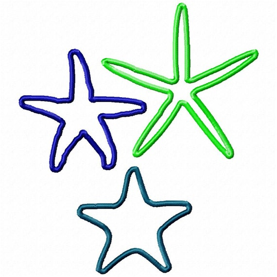 Applique Starfish Set of all 3 designs (Embroidery Design for Machine Embroidery)