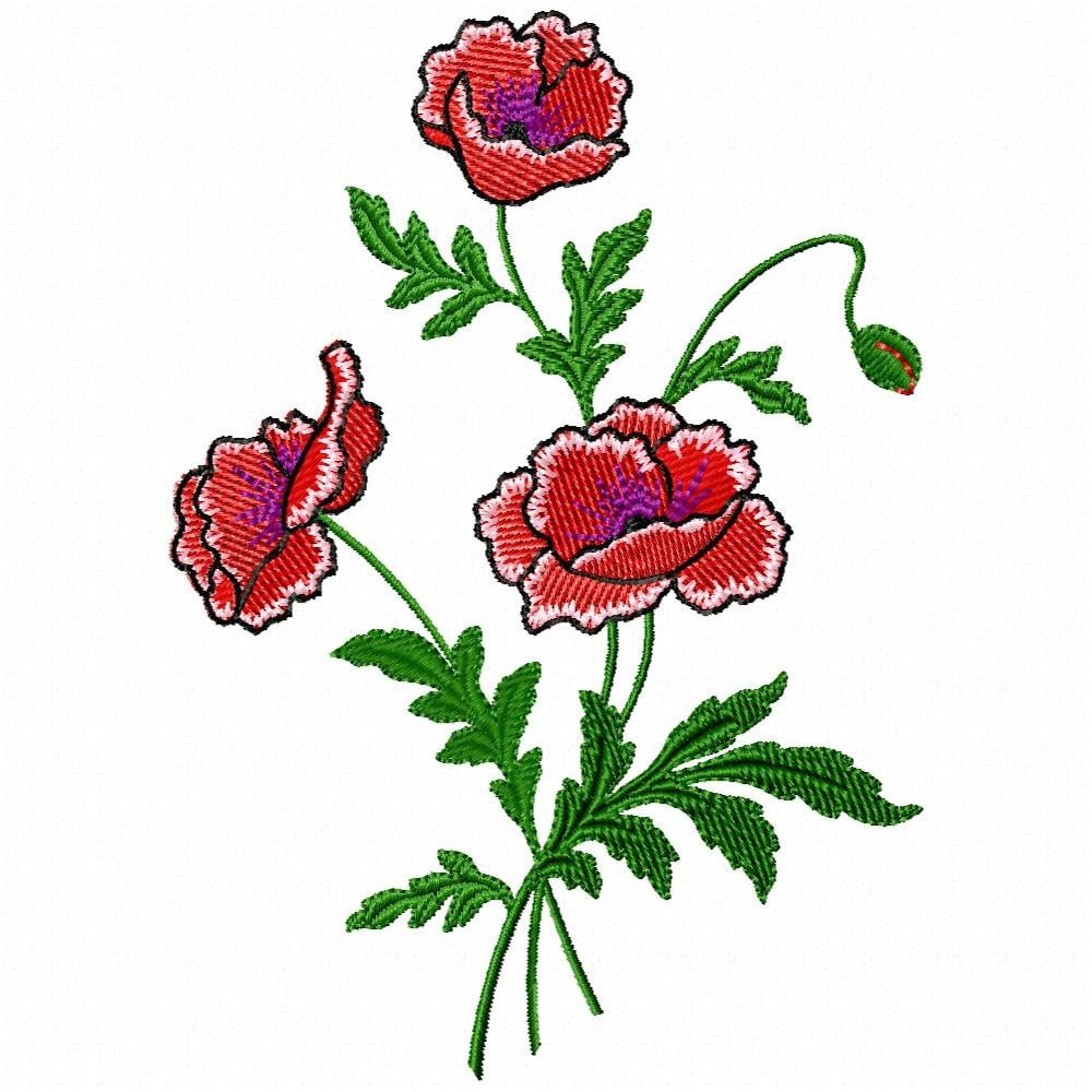 Poppies Embroidery Design For Machine Embroidery Would Look
