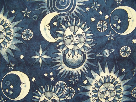 Golden Luna Blue fabric Alexander Henry One Yard