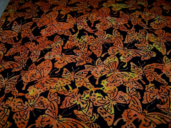 RESERVED LISTING for Susan Orange Black Butterfly Cotton Quilting Fabric  7 Yards