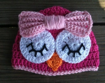 Baby Toddler Girl HOT PINK Crochet Sleepy OWL Beanie Hat w/Pink Bow -- Sizes: Newborn to 10yrs -- Cute Photo Prop