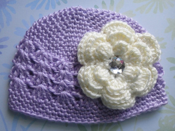 Baby Infant Toddler Girl PURPLE Crochet Kufi Beanie Hat With Crochet Daisy Flower Clip -- You Pick Colors & Size: 0-3 Mos, 3-9 Mos, 9-24 Mos