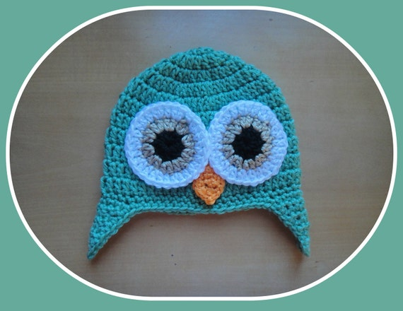 Baby Toddler Boy GREEN Crochet OWL Earflap Hat -- Sizes: Newborn to 8yrs -- Winter Hat -- Photo Prop