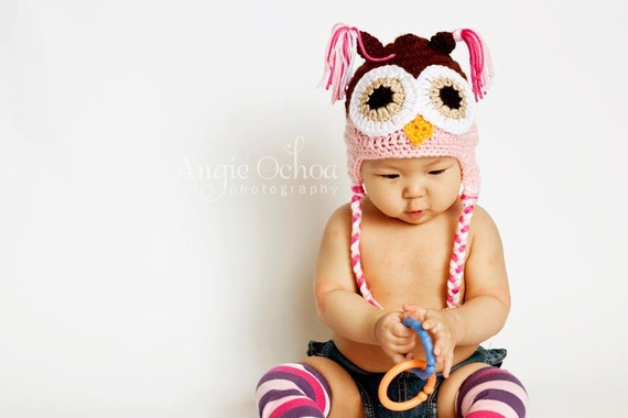 Baby Toddler Preteen Girls Crochet PINK n Brown OWL Earflap Braids Hat -- Sizes: Newborn to 10yrs -- Cute Photo Prop