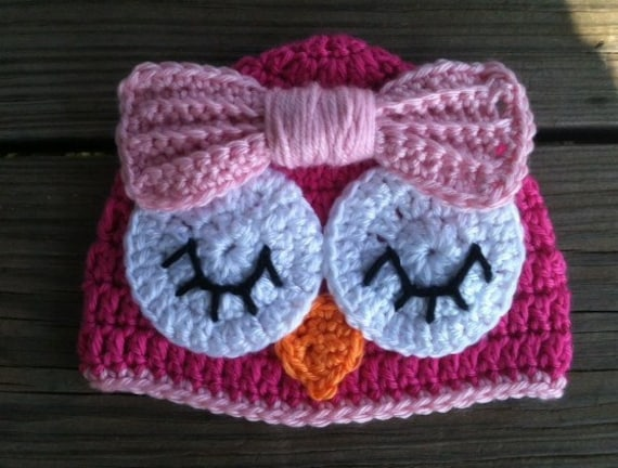 Baby Toddler Girl HOT PINK Crochet Sleepy OWL Beanie Hat