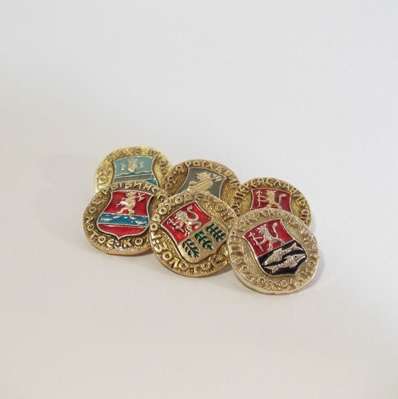 "Set of Six ""The Golden Ring of Russia"" Vintage Pins - 1970s, Bilibin style"