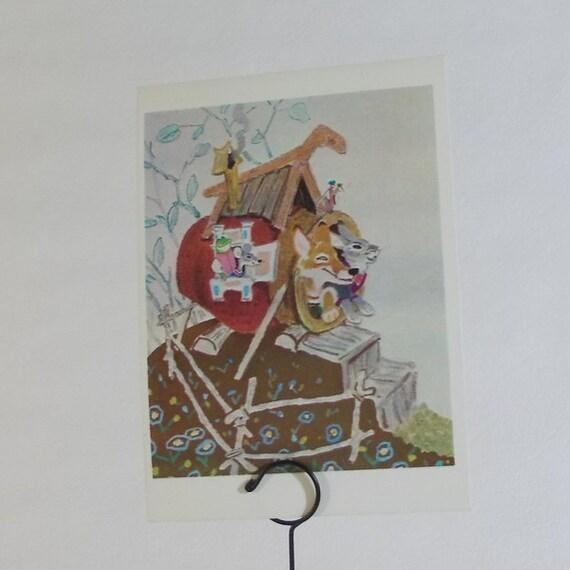 "Print Illustration by Rachev for Russian Folk Tale ""Teremok"" - 1970s"