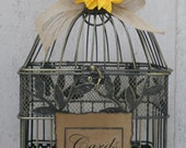 Card Box Rustic / Shabby Chic Burlap Ribbon Birdcage / Wedding / Card Holder Sunflower Wedding