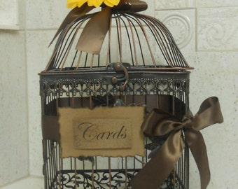 Large Black/Copper Birdcage  / Wedding Card holder