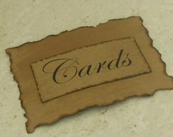 Antiqued Cards Sign / Wedding Signage / Burned Cards Sign