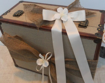 Wedding Card Box / Vintage Style Shabby Rustic Natural Burlap Suitcase / Wedding Card Holder / Photo Prop Suitcase / Burlap Wedding Decor