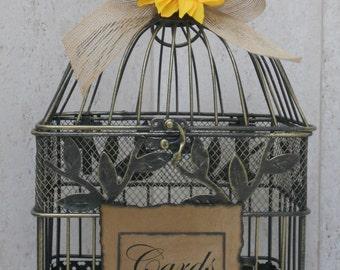 Card Box Rustic / Shabby Chic Burlap Ribbon Birdcage / Wedding / Card Holder Sunflower Wedding