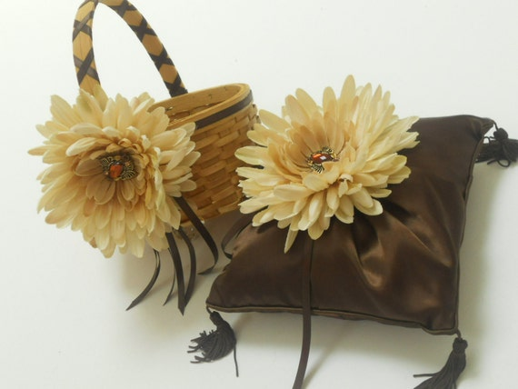 Wedding Ring Bearer Pillow and Flower Girl Basket