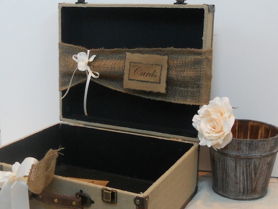 Wedding Card Box Vintage Style Shabby Chic Rustic Natural Burlap ...