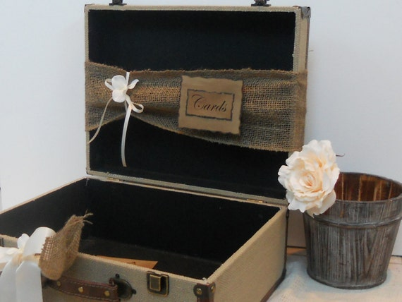 Vintage Wedding Gift Card Holder : Wedding Card Box Vintage Style Shabby Chic Rustic Natural Burlap ...