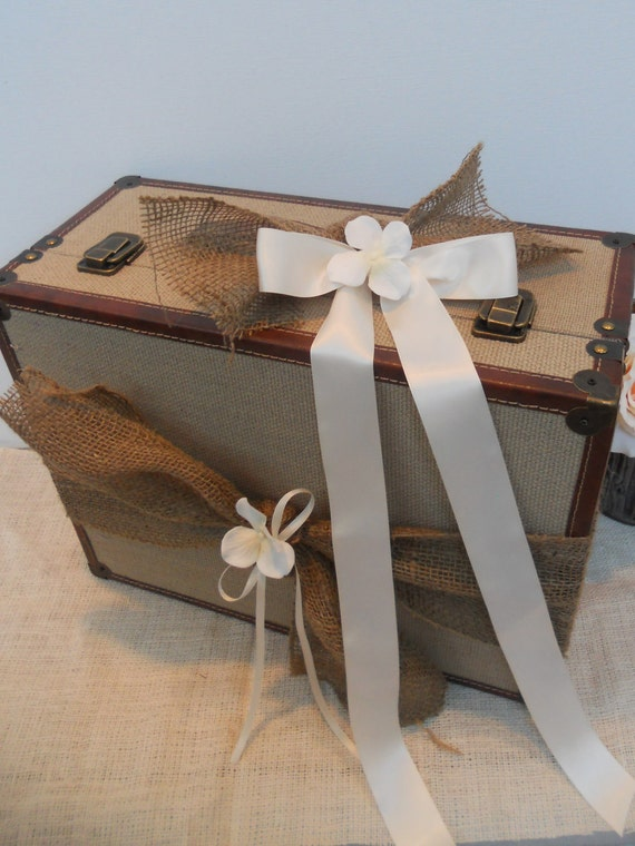 Wedding Card Box / Vintage Style Rustic Natural Burlap Suitcase / Wedding Card Holder / Photo Prop Suitcase / Burlap Wedding Decor