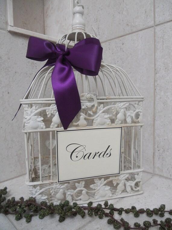 diy shabby ivory birdcage wedding card holder bird cage. Black Bedroom Furniture Sets. Home Design Ideas