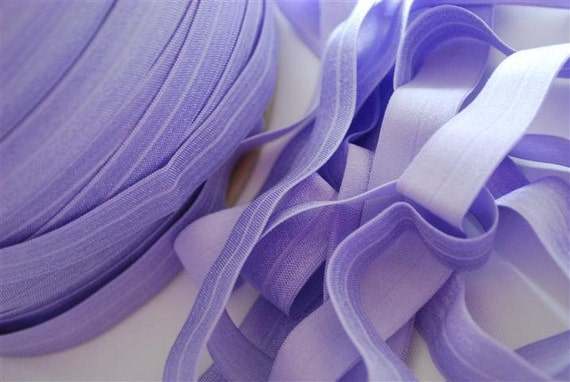5/8 inch Fold Over Elastic - 5 Yards Lavender