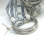 Belt, fashion - Shellgame pattern, navy, hemp/organic cotton