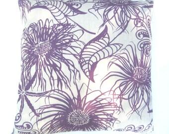 "Pillow - Anemone pattern, wild plum, 20"" x 20"", knife-edge"