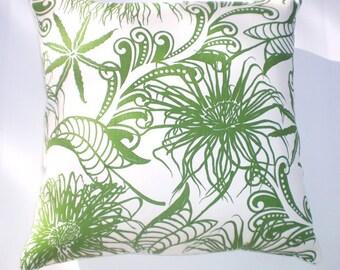 "Pillow - 20"" Anemone pattern, seaweed green, hemp/org cotton, invisible zipper closure"