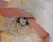 Wide Vintage Red and White Strip Ribbon,  Elegant Victorian,Wedding Formals, Victorial Hair Bows-one yard