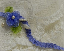 3 Yds-Delicate Petite Vintage Shirring Blue Braid  Doll Lace Trim , Petite Edging, Dolls, Baby,  Ribbonwork, scrapbooking, Crazy Quilts,