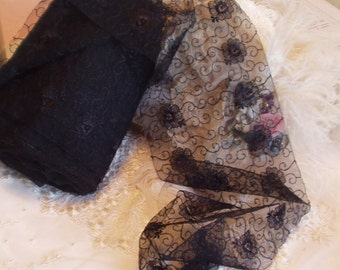 6 in Wide - Embroidered Black Floral &  Swirls Soft Lace ,Net Lace - Victorian, Lingerie, Wedding - By the Yard