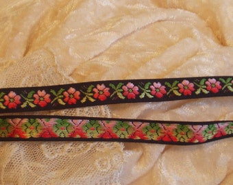 3 Yards Black with Pink Flowers Jacquard Ribbon Trim,  Edging, Quilt, doll, remake of 60's jeans