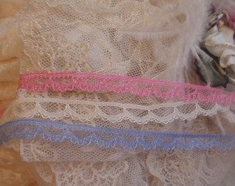 30 Yds -  Petite Pink/Coral, Cream, Blue Doll  Lace, Trim, Edging - Baby, Mixed Media, Altered Couture,, Crazy Quilts