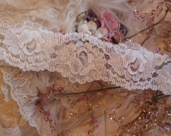 2 yards - Cream Rose Chantilly lace - Bridal, Wedding, Shabby Chic, Lingerie - Flat Lace, Trim, 2 1/2 inches wide
