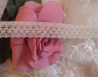 6 Yds - Soft Natural Cream Crocheted  Lace,  Trim, Edging, 3/4 inch wide,  Sewing,