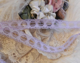 2 Yards - Pansy  Boudoir Lingerie Insertion Lace, Trim, Edging, Victorian,