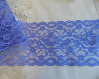 Beautiful  wide Scalloped  Blue  Floral Lace- By the Yard - Wide Lace